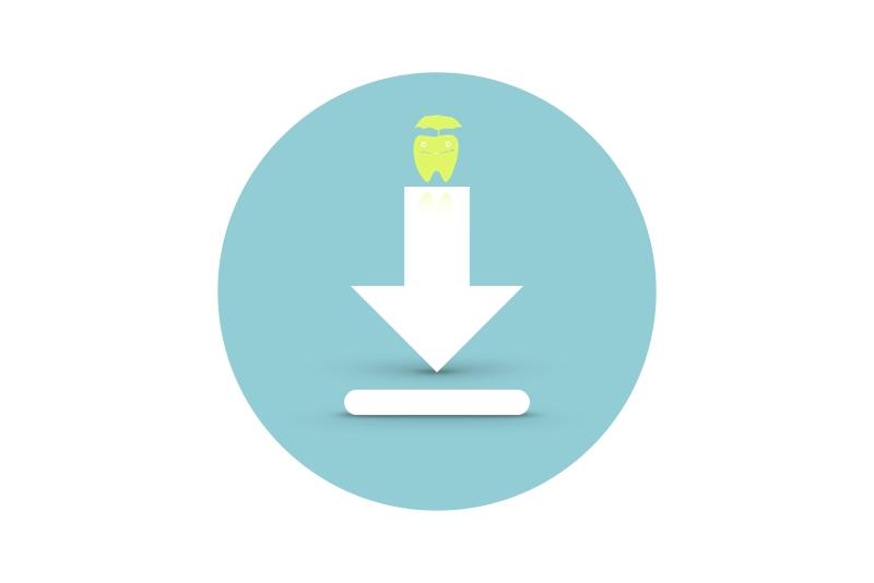 Download-Symbol mit Zahn